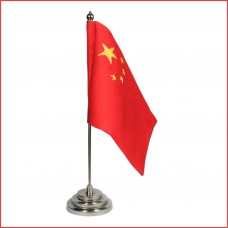 China Table Flag, pure sheesham wood base, stainless steel rod, embroidery flags