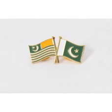 Kashmir Pakistan dual flag, lapel pin, badge