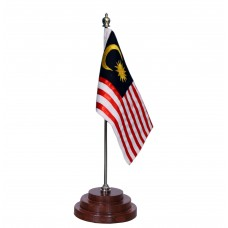 Malaysian table flag,  pure sheesham wood base, embroidered,