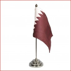 Qatar Table Flag, pure sheesham wood base