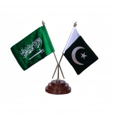 Pakistan and Saudia dual table flag, embroidered, executive