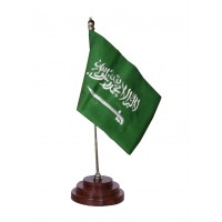 Saudia Table Flag, sheesham wood base, embroidery