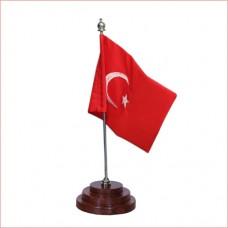 Turkish table flag, embroidered, pure sheesham wood base,  executive