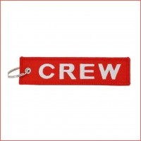 Crew Tag, red, embroidery keychain