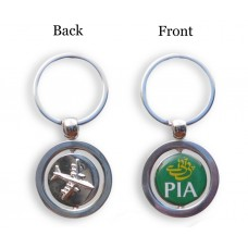PIA Keychain, round shape, double sided, 3D airplane