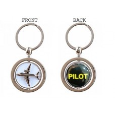 Pilot Keychain, double sided, 3D airplane