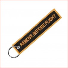 Remove Before Flight, golden,  embroidery keychain