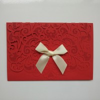 Wedding Cards, Red with ribbon Lazer Cut