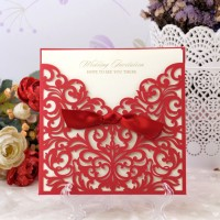 Wedding Cards, Red, Lazer Cut