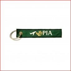 PIA luggage tag, keychain, green printed, double sided