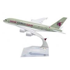 Qatar Airways A380, 16cm, metal, with stand