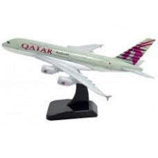 Qatar Airways A380, 18cm, metal body with stand