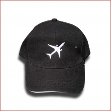 Cap aircraft embroidered, black