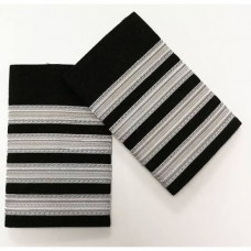 Epaulettes for uniform, pair, 4 white bars