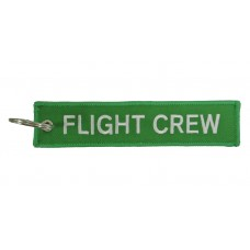 Flight Crew embroidery tag, keychain, double sided, GREEN