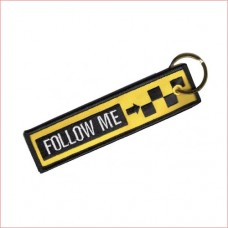 Follow me embroidery tag, keychain, double sided