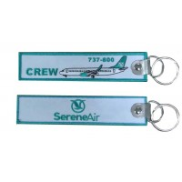 Serene Air Tag, embroidery keychain, double sided, washable