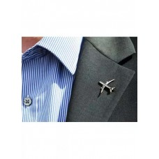 Airplane Lapel pin, Silver, 1 inch