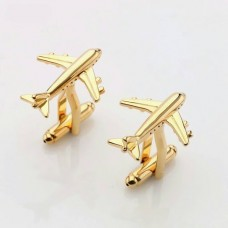 Airplane cufflinks, pilot gift, pair, golden colour