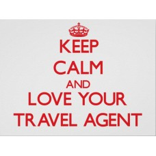 Keep calm and love your travel agent Vinyl Sticker, printed with white background, waterproof